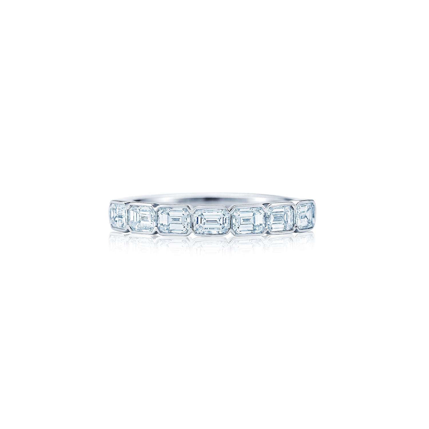 Emerald cut diamond band ring in platinum, Kwiat Wedding Ring ...