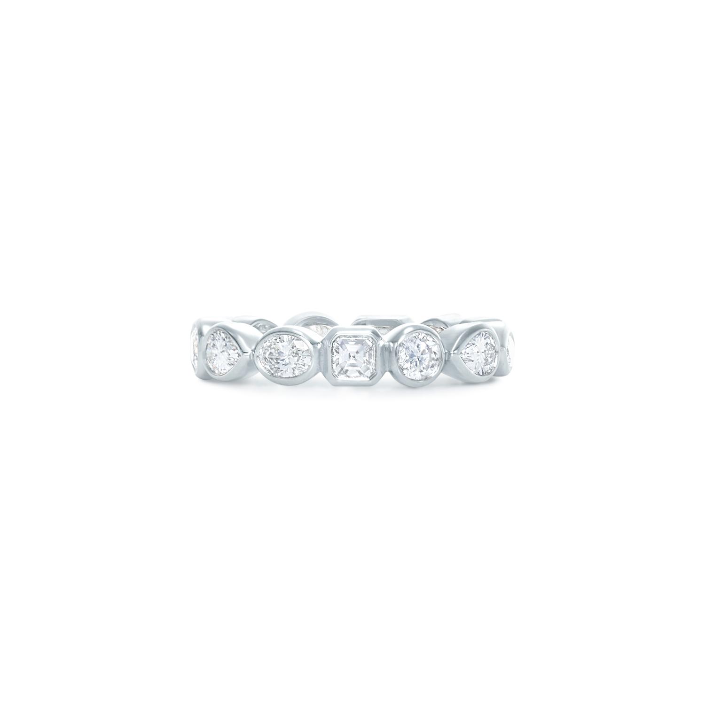 Bezel set fancy shape diamond band ring in 18k white Kwiat