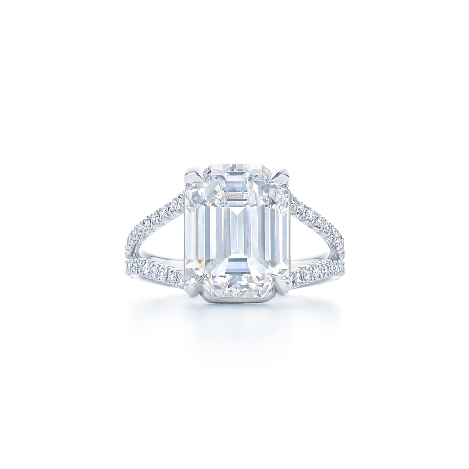 emerald cut diamond ring with split pave diamond diamond band set
