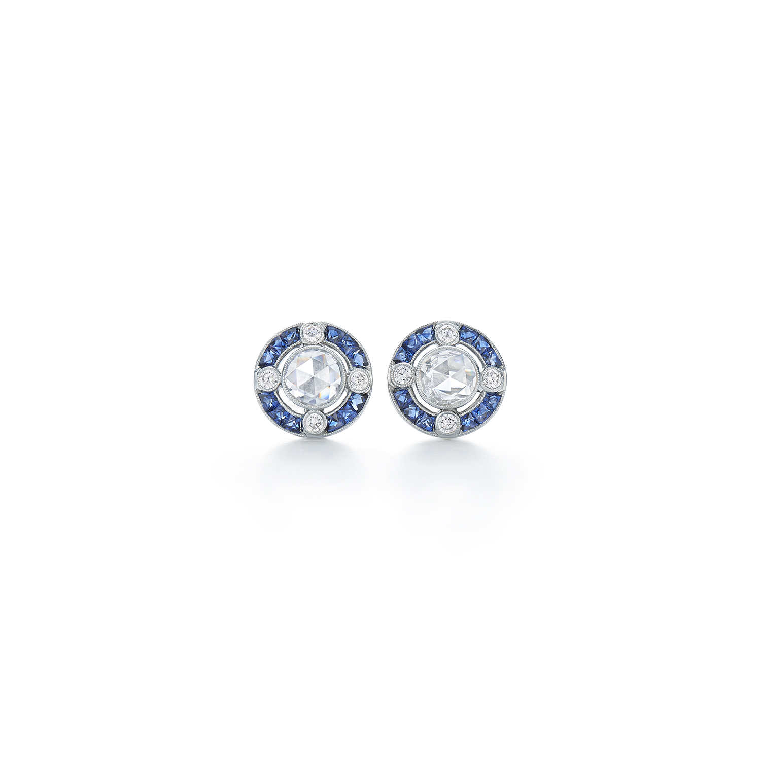 sterling round mk earrings diamond sapphire blue and saphire in silver halo