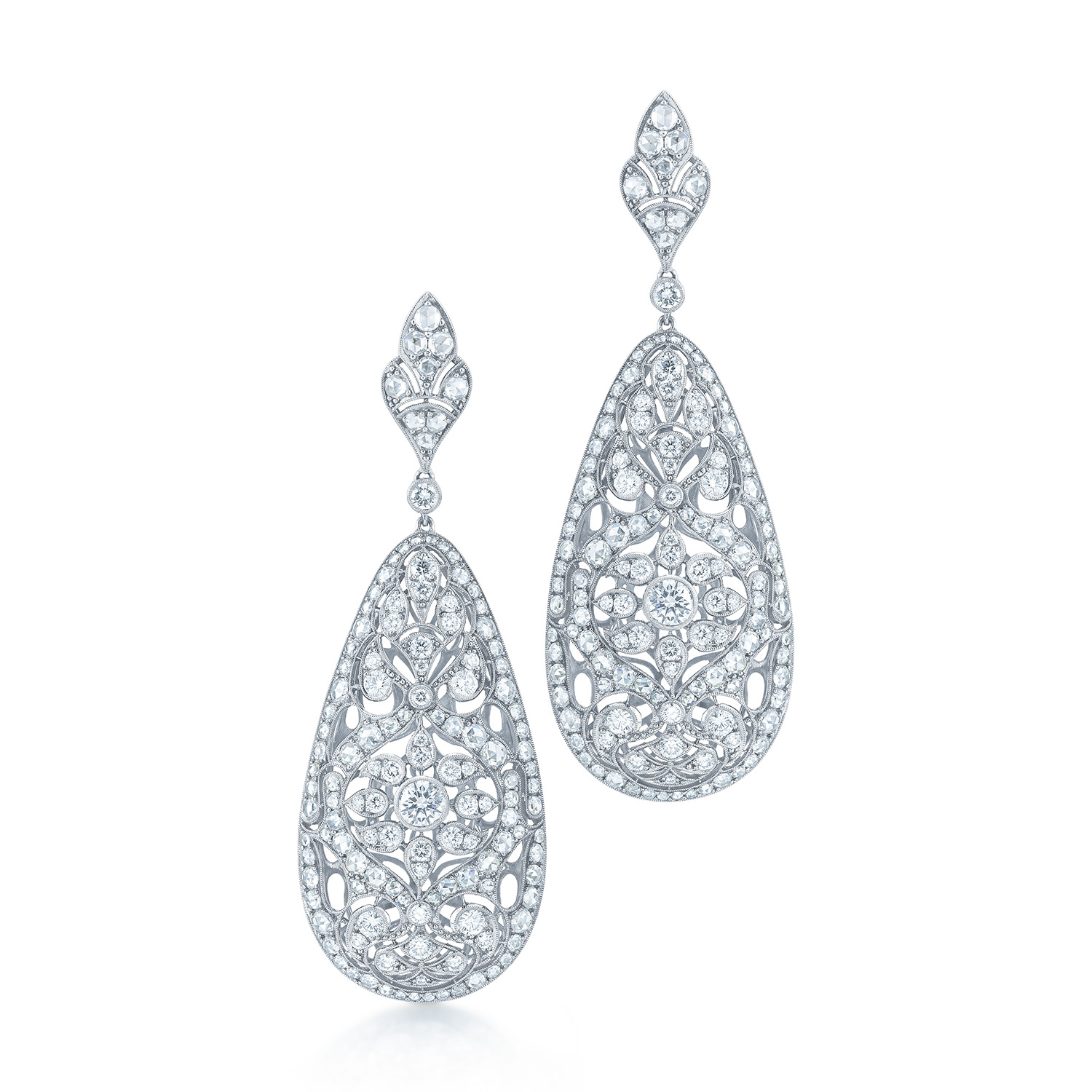 Diamond Filigree Drop Earrings In 18k White Gold Kwiat Vintage Style 28347