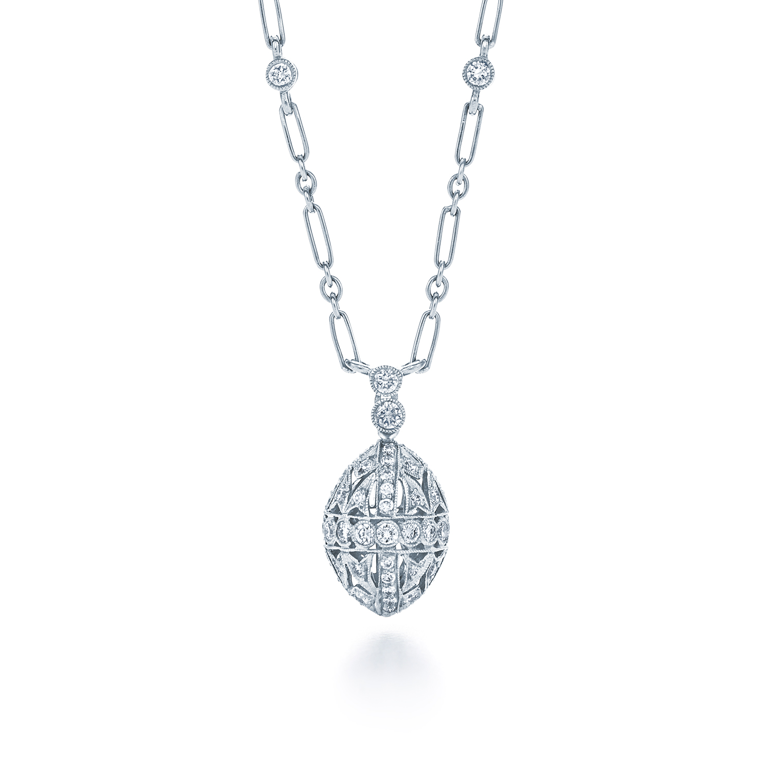 Diamond filigree pendant on a chain with diamonds in 18k white kwiat vintage pendant diamond filigree aloadofball Choice Image