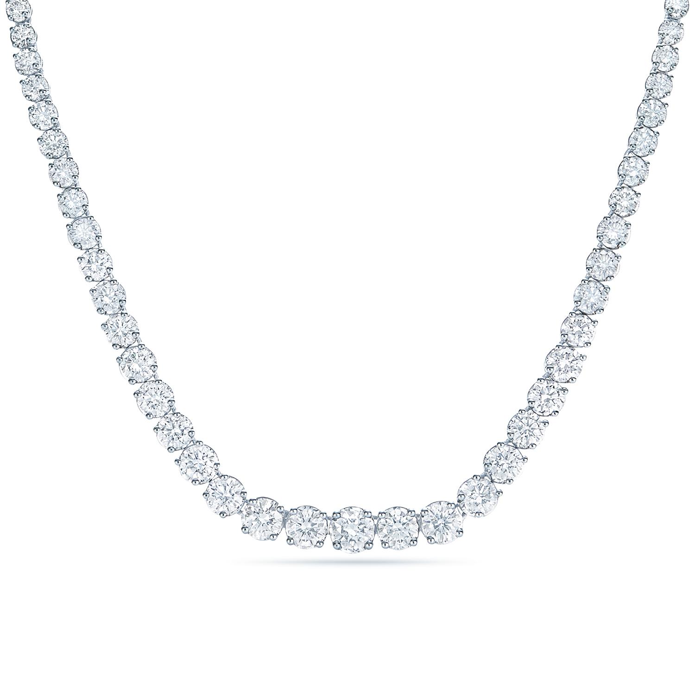 diamond line graduated necklace in 18k white gold kwiat. Black Bedroom Furniture Sets. Home Design Ideas
